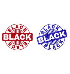 Grunge black textured round stamps vector