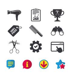 Hairdresser icons scissors cut hair symbol vector