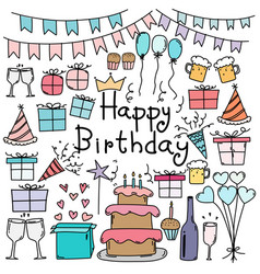 hand drawn doodle happy birthday set vector image