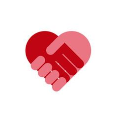 handshake heart icon symbol eps10 vector image