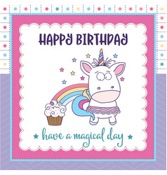 happy birthday card with lovely bagirl unicorn vector image