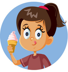 happy girl holding ice cream craving for a treat vector image