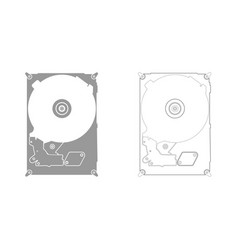 Hard drive disk grey set icon vector