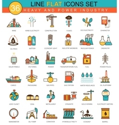 Heavy and power industry flat line icon set vector