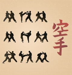 Hieroglyph of karate and men demonstrating karate vector