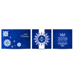 holiday greeting card set with snowflakes and vector image