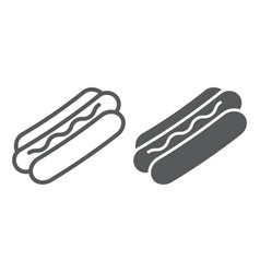 Hot dog line and glyph icon food and meat vector