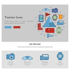 Icons recreational tourism vector