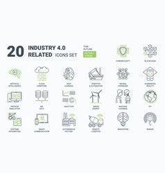 industry 40 simple icons set with editable stroke vector image