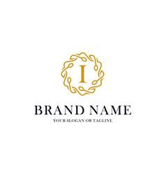 Initial i letter luxury ornament logo design vector