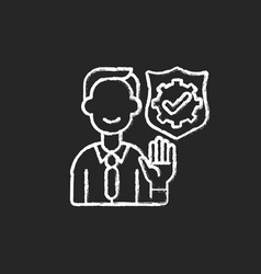 Integrity chalk white icon on black background vector
