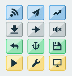 Interface icons set with undo send diskette and vector