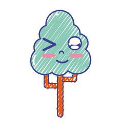 kawaii cute funny tree ecology vector image