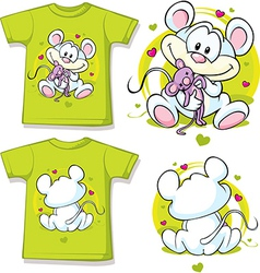 Kid shirt with cute mouse printed vector