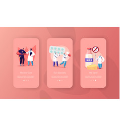 lactose and milk intolerance mobile app page vector image