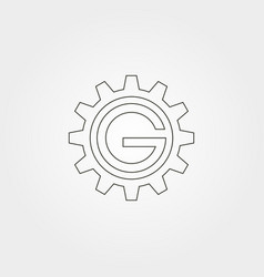 letter g in gear line art icon logo graphic vector image