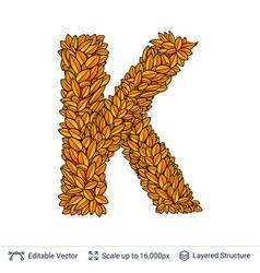 Letter k sign of autumn leaves vector