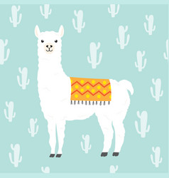 Llama alpaca and cactus seamless pattern vector