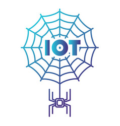 logo spidr on web - iot iot web spider like chip vector image