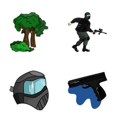 mask gun paint inventory paintball set vector image