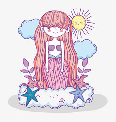 Mermaid woman in the cloud with clouds and sun vector