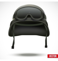 Military green helmet and goggles vector image