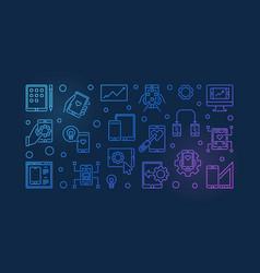 Mobile app development colored outline vector