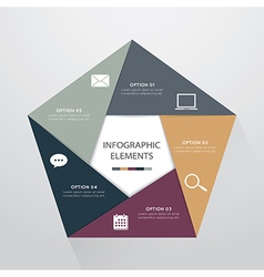 Modern pentagon infographics options banner vector