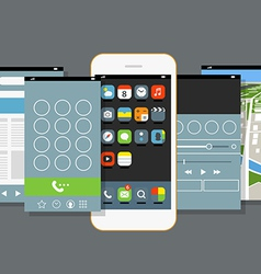 Modern smartphone with different application scree vector