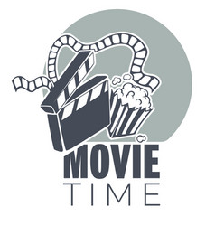 Movie time emblem clapboard reel and pop corn vector