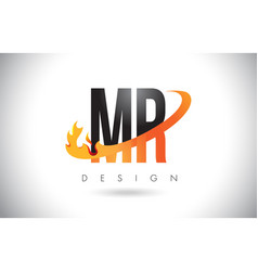 Mr m r letter logo with fire flames design and vector