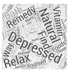 Natural remedies for depression word cloud concept vector