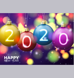new year banner template with bright balls vector image