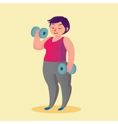 Obese young woman with dumbbells Funny cartoon vector