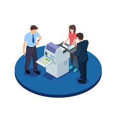 office workers are testing a new printer isometric vector image