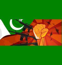 Pakistan war propaganda hand fist strike with arm vector