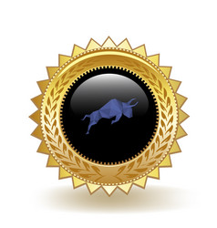 Polymath cryptocurrency coin gold badge vector