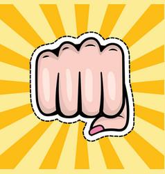 pop art hand punch cartoon vector image