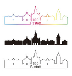 rastatt skyline linear style with rainbow vector image