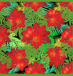 red exotic tropical flowers seamless pattern vector image