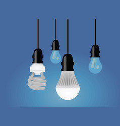 regular cfl and led bulb vector image