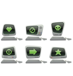 Retro computer icon set with random symbols vector
