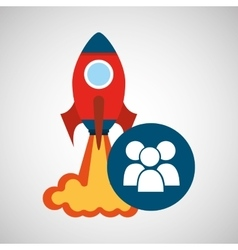 Rocket launch start up business group person vector