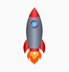 Rocket spaceship take off with fire vector