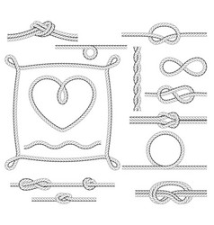 rope frames and knots - borders and corners vector image
