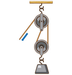 Science experiment on force and motion with pulley vector