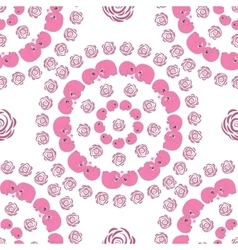 Seamless circle pattern with pink cartoon elefants vector