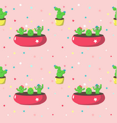 Seamless pattern with cute cartoon cactuses vector