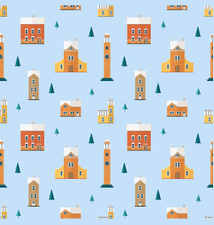 seamless pattern with old buildings clock towers vector image
