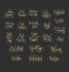Set of 22 golden hand lettering positive quotes on vector